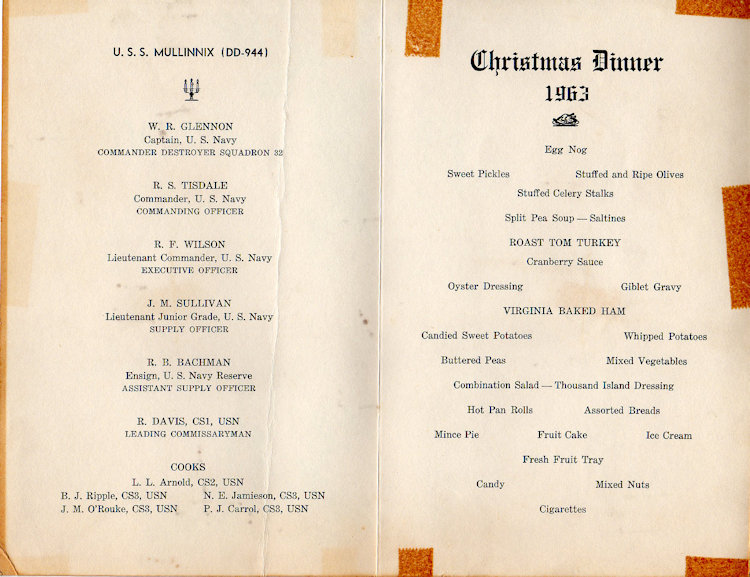 1963 Christmas Day Dinner Menu
