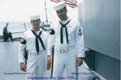 PlankOwners EM3 Normand Bellerose and MM2 Richard Giles in Gitmo in June 1958